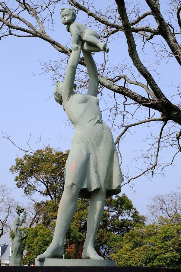 Sculpture sur le parc de paix de Nagasaki, Japon image stock