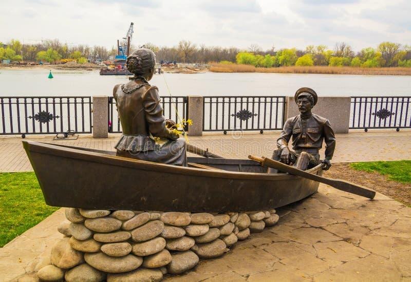 Sculpture sur le remblai de Don River à Rostov On Don photos libres de droits