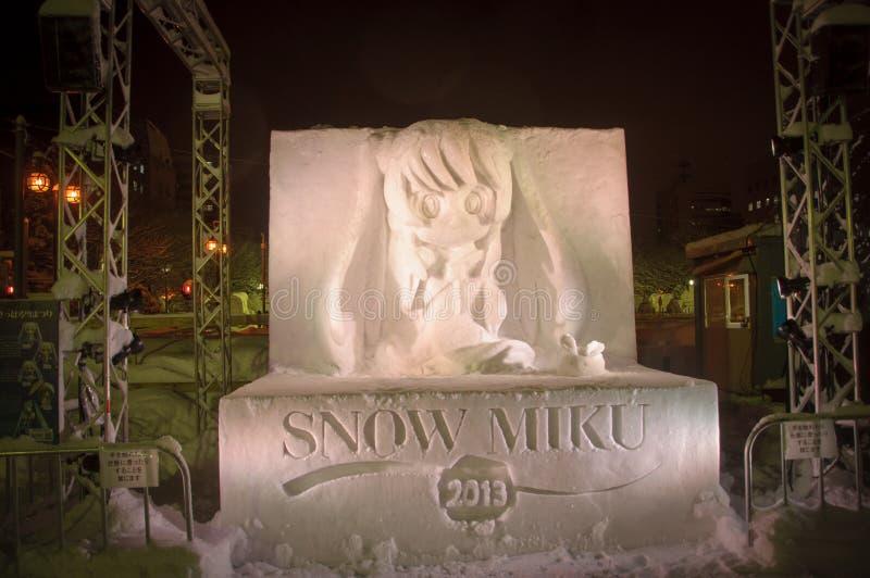 Sculpture sur neige de Hatsune Miku ou de miku de neige au festival de neige de Sapporo 2013 photographie stock