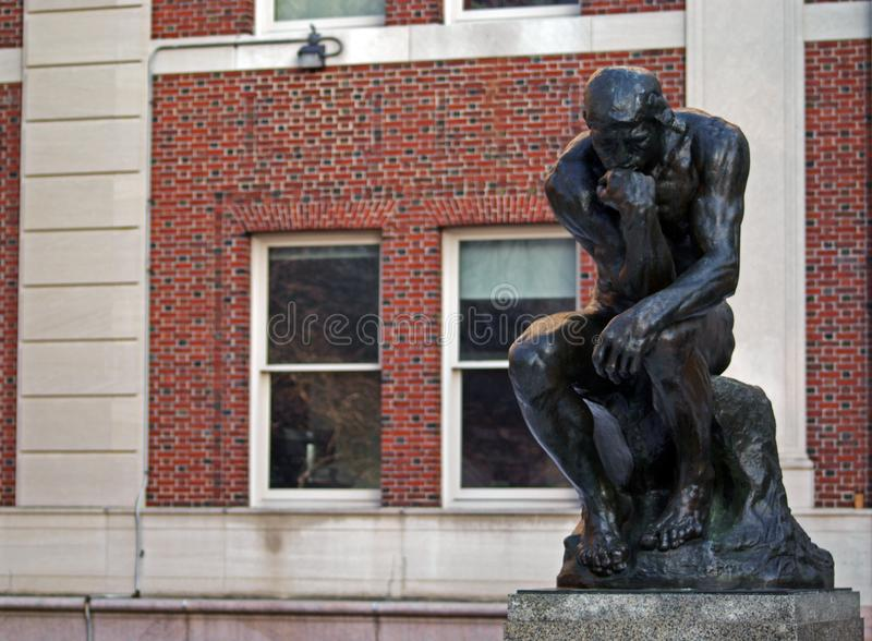 The Thinker at Columbia University royalty free stock photo