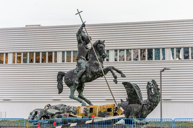 Sculpture titled Good Defeats Evil presented to United Nations by the Soviet Union in 1990 in New York on April 27, 2014 The drago royalty free stock photo