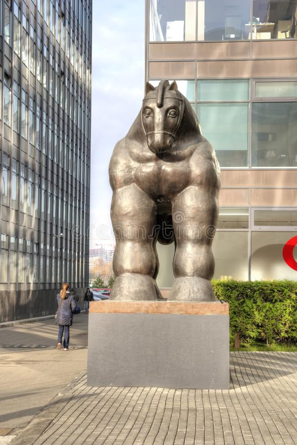 Sculpture Trojan Horse. City Moskaw. The creation of a fashionable Colombian sculptor Fernando Botero. MOSCOW, RUSSIA - November 07.2018: Sculpture of the Trojan stock image