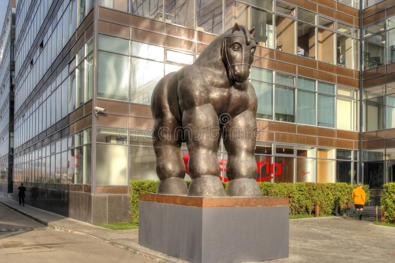 Sculpture Trojan Horse. City Moskaw. The creation of a fashionable Colombian sculptor Fernando Botero. MOSCOW, RUSSIA - November 07.2018: Sculpture of the Trojan royalty free stock images