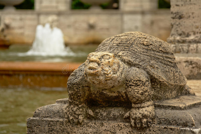 Sculpture of turtle, detail of fountain of fairy tales in Friedrichshain Volkspark, Berlin royalty free stock photography