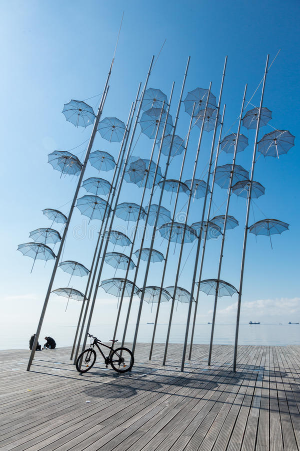 The sculpture Umbrellas by George Zongolopoulos in Thessaloniki royalty free stock images