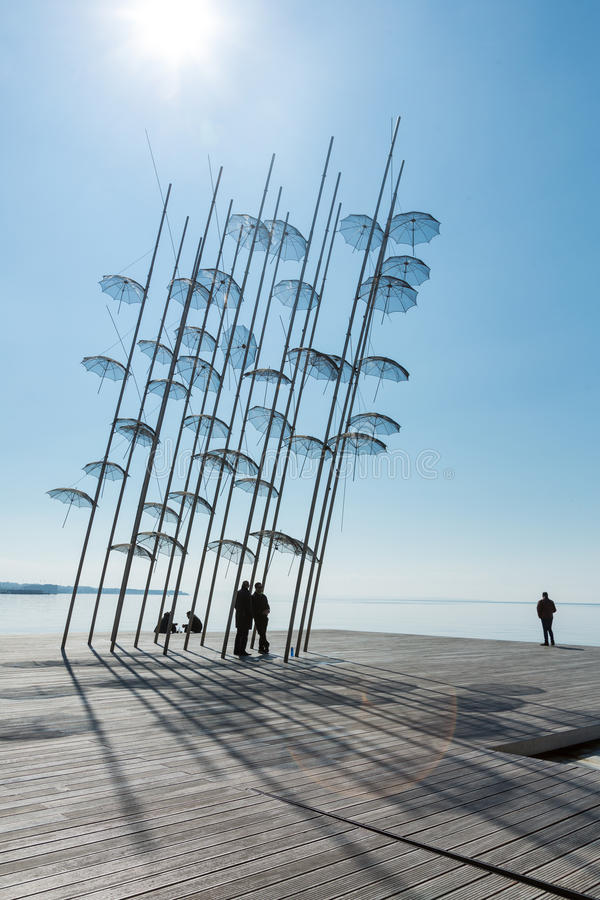 The sculpture Umbrellas by George Zongolopoulos in Thessaloniki royalty free stock photo