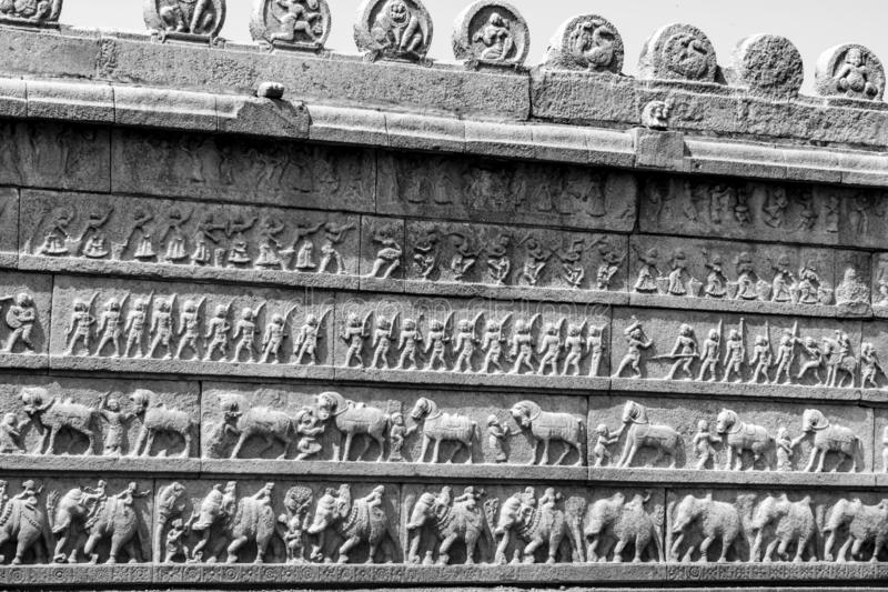 Sculpture Wall of all four Armed forces of Ancient India stock photo