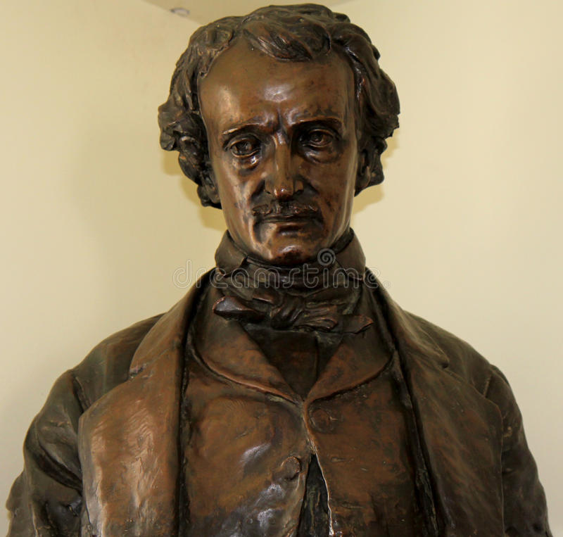 Edgar Allan Poe head. This sculpture was made when Poe was sick and near death. You can see it in Edgar Allan Poe Museum, Bronx quarter, New York stock photos