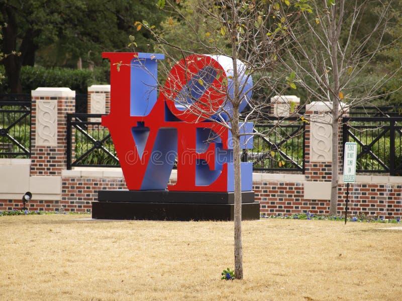 Robert Indiana Sculpture in University park, Texas stock photography