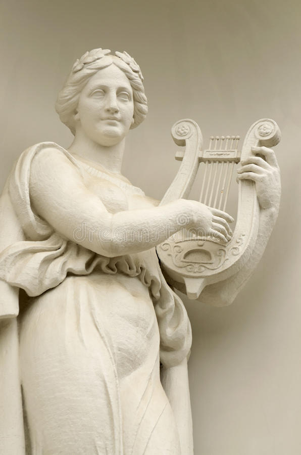 Download Sculpture Of Woman With Lyre. Stock Image - Image of building, string: 77775131