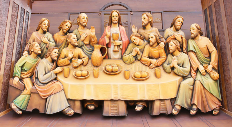 Sculpture Wood Carving Of Last Supper Of Jesus Editorial Photography ...