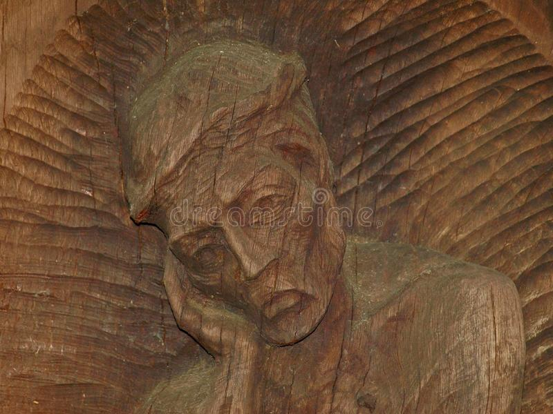 sculpture in wood face royalty free stock images