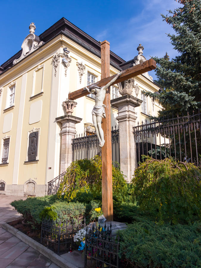 Sculpture in the yard St. George Cathedral in Lviv stock photography