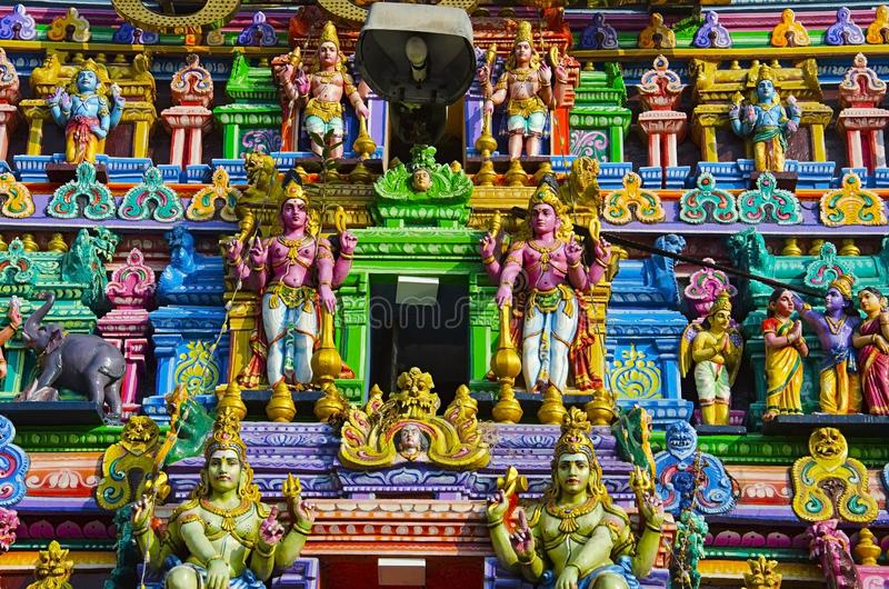 Sculptured facade of the Kapaleeshwarar Temple, Mylapore, Chennai, Tamil Nadu, India. Form of Shiva`s consort Parvati worshipped at this temple is called royalty free stock images
