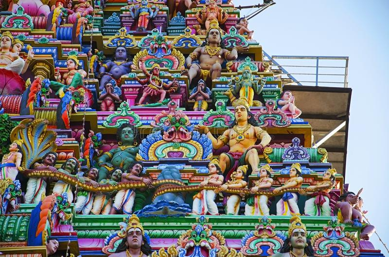 Sculptured facade of the Kapaleeshwarar Temple, Mylapore, Chennai, Tamil Nadu, India. Form of Shiva`s consort Parvati worshipped at this temple is called royalty free stock photos