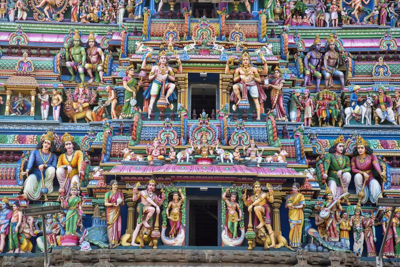 Sculptured facade of the Kapaleeshwarar Temple, Mylapore, Chennai, Tamil Nadu. India. Shiva Temple. The temple was built around the 7th century CE in Dravidian royalty free stock photography
