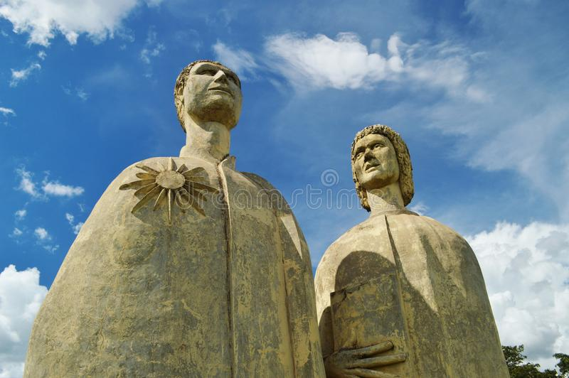 Sculptures of the artist Bassano Vaccarini at the city of Altinópolis, state of São Paulo, Brazil stock photo