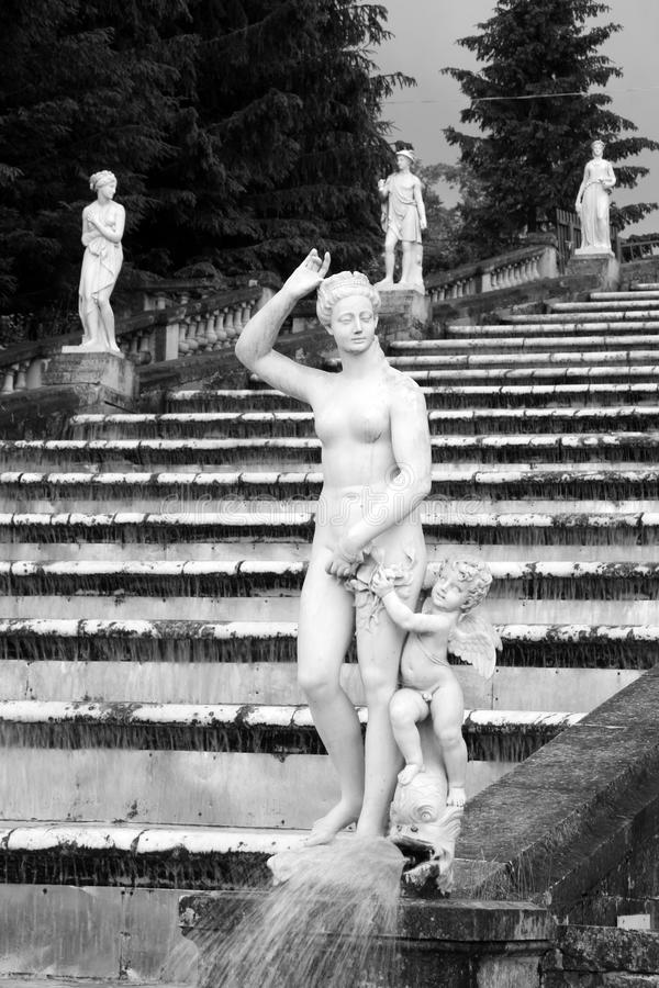 Sculptures on the cascade Golden Mountain in Peterhof, Russia stock photo