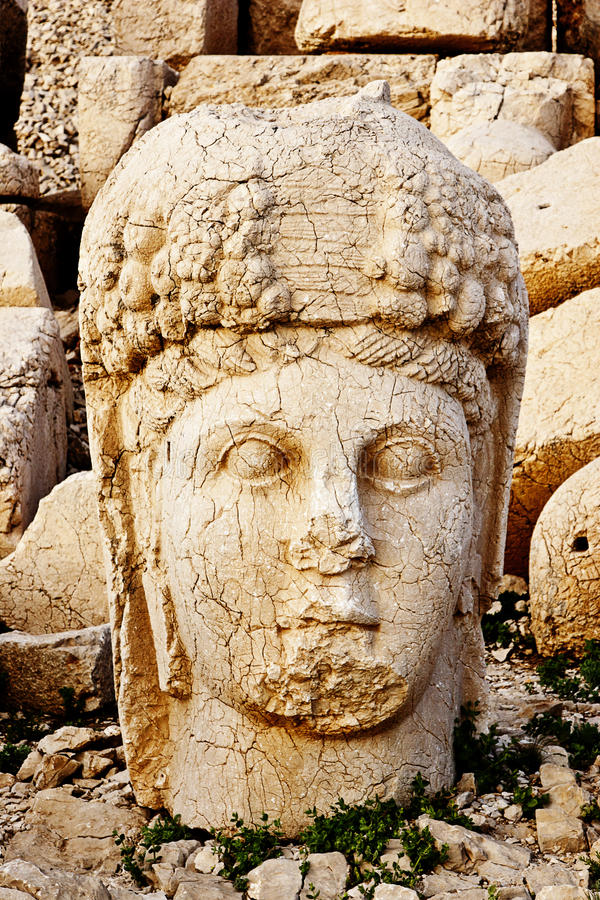 Sculptures of the Commagene Kingdom, Nemrut Mountain. The tomb or the Hierotheseion of Nemrut DaÄŸ bears unique testimony to the civilization of the kingdom of stock images