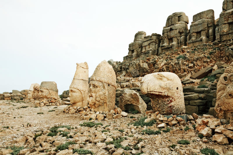 Sculptures of the Commagene Kingdom, Nemrut Mountain. The tomb or the Hierotheseion of Nemrut DaÄŸ bears unique testimony to the civilization of the kingdom of stock image