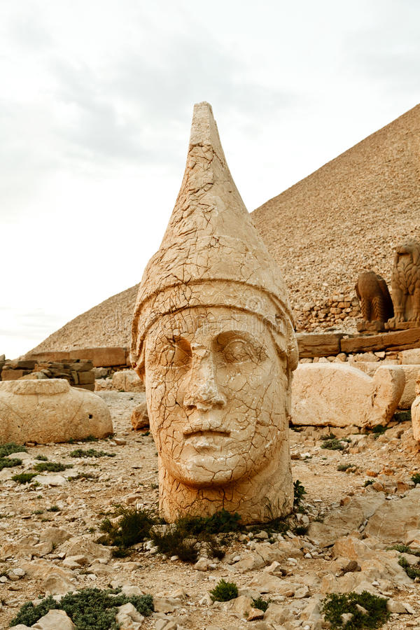 Sculptures of the Commagene Kingdom, Nemrut Mountain. The tomb or the Hierotheseion of Nemrut DaÄŸ bears unique testimony to the civilization of the kingdom of stock photo