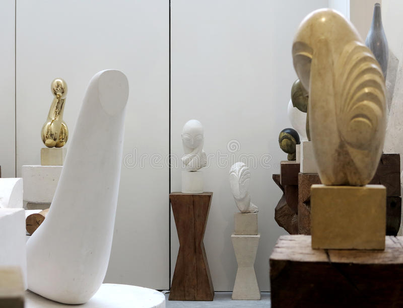 Atelier Brancusi. Sculptures of Constantin Brancusi displayed in Atelier Brancusi at Centre Georges Pompidou in Paris, France royalty free stock photo