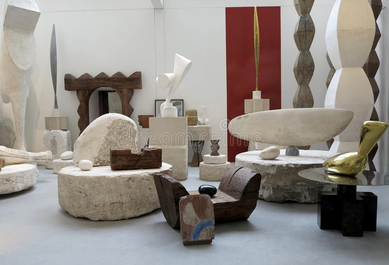 Atelier Brancusi. Sculptures of Constantin Brancusi displayed in Atelier Brancusi at Centre Georges Pompidou in Paris, France stock image