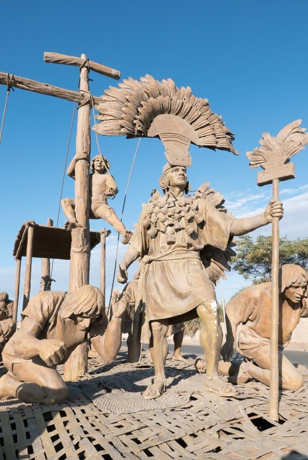 Sculptures débarquant la civilisation Chiclayo Pérou de Maya images stock