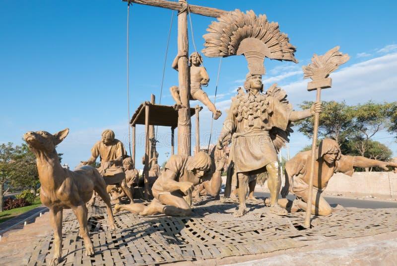 Sculptures débarquant la civilisation précolombienne Chiclayo Pérou photographie stock