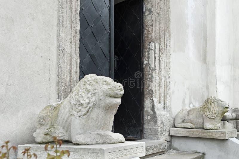 Sculptures en lion sur l'entrée du saint Michael Church de Lviv, Ukraine photo libre de droits