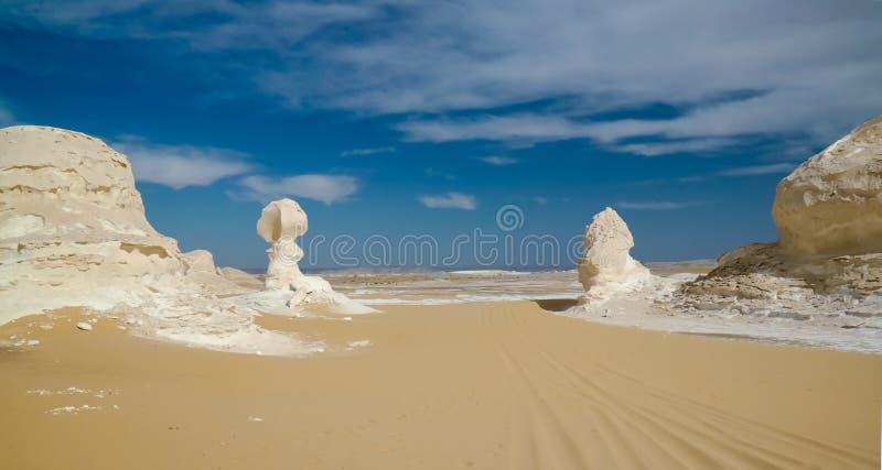 Sculptures en nature dans le désert blanc, Sahara, Egypte photographie stock