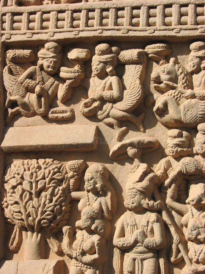 Sculptures en pierre dans Sanchi, Madhya Pradesh photographie stock libre de droits