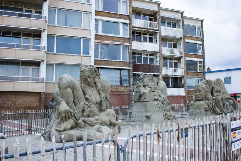 Sculptures en sable dans Zandvoort photos stock