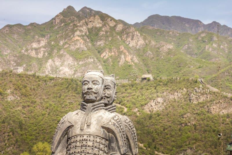 Sculptures en soldat de terre cuite sur la Grande Muraille photos libres de droits