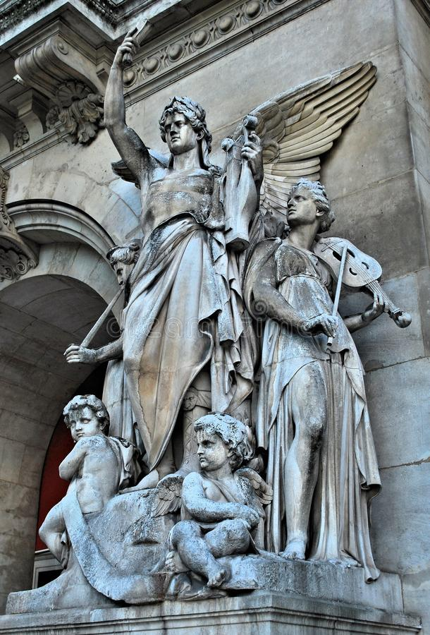 The sculptures on the facade of the Grand Opera stock image