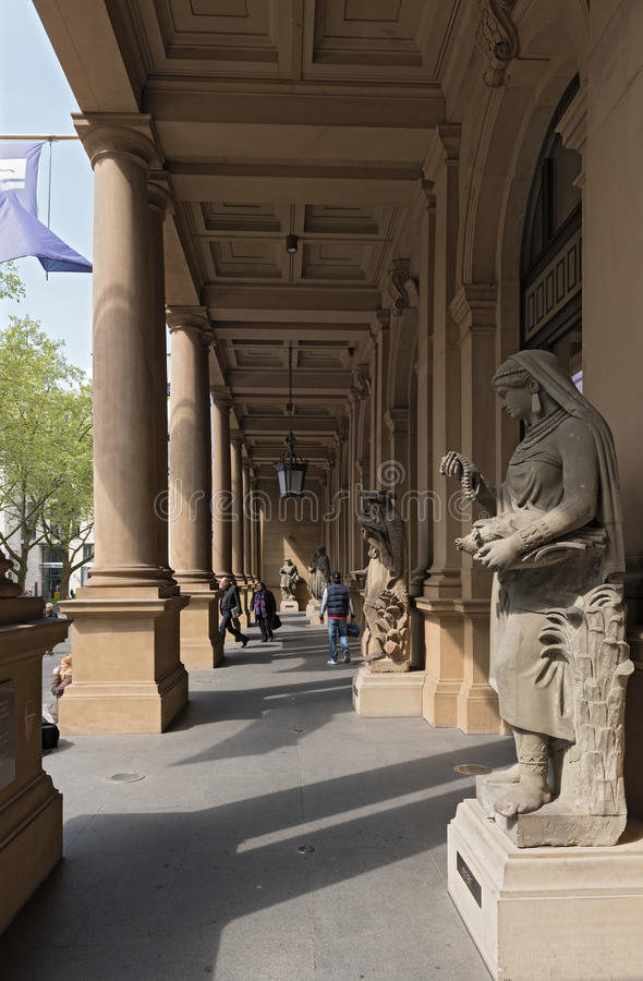 Sculptures in front of the entrance of the stock market in Frankfurt, Germany stock image
