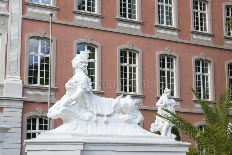 Sculptures in front of the Prince-elector Palace in the center of Trier stock photos