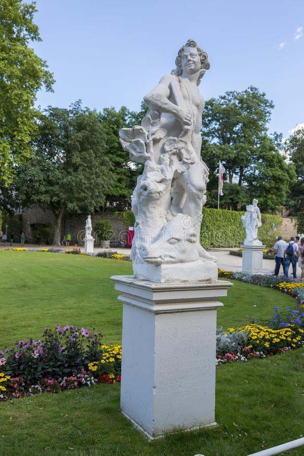 Sculptures in front of the Prince-elector Palace in the center of Trier royalty free stock photo