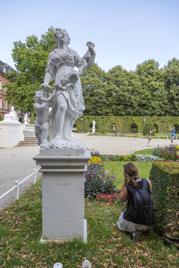 Sculptures in front of the Prince-elector Palace in the center of Trier stock image