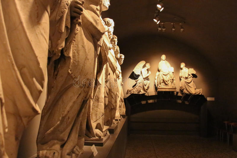 Sculptures by Giovanni Pisano and his school in Museo dell`Opera Metropolitana del Duomo, Siena, Tuscany, Italy. royalty free stock photo
