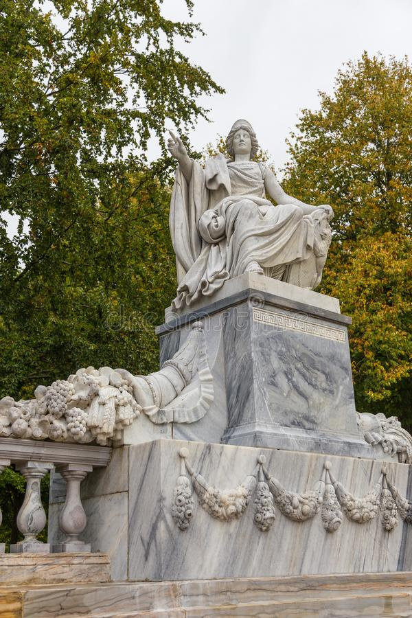 Sculptures in historical, Palace gardens, Fredensborg, Denmark. Fredensborg, Denmark- 30 August 2014: Sculptures in Palace gardens. The largest historical royalty free stock photo