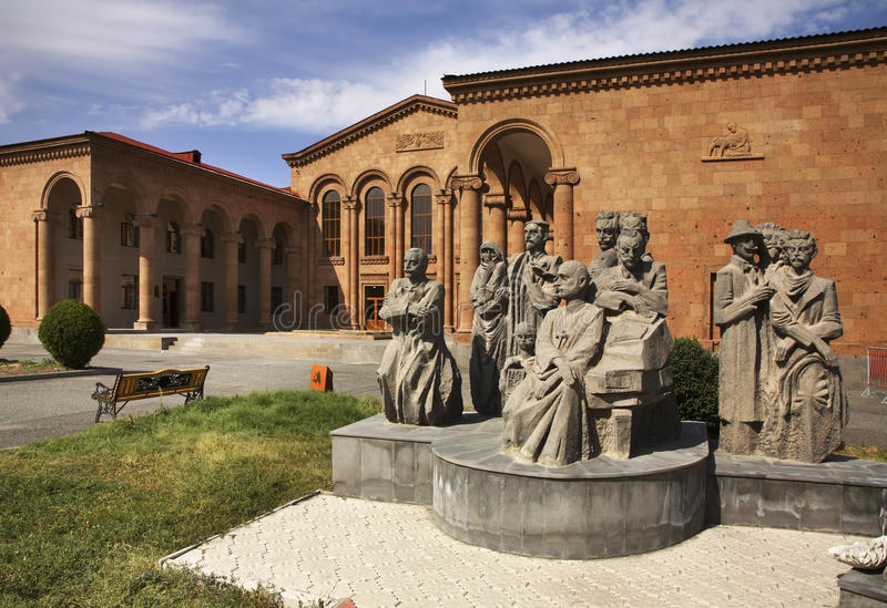 Sculptures of honorary citizens near Komitas Cultural Centre in Vagharshapat. Armenia.  royalty free stock image