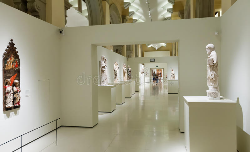 Sculptures in Medieval Gothic style art hall royalty free stock photo