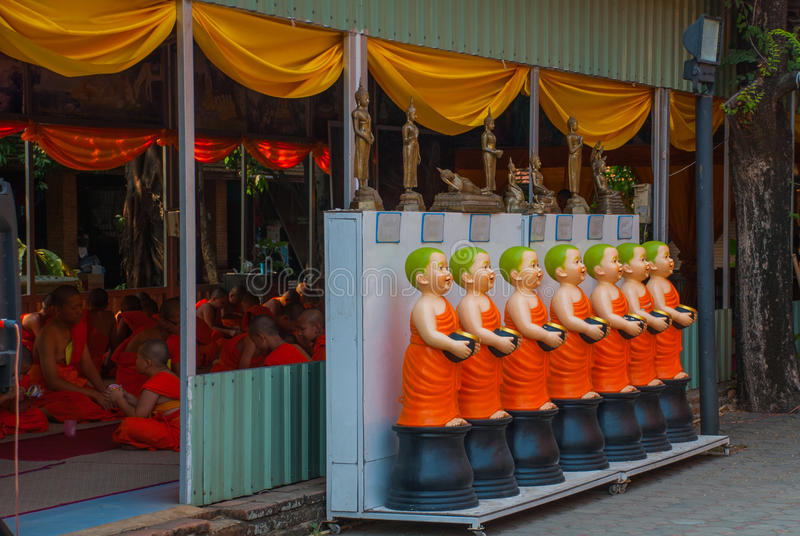 Sculptures of monks. Chiangmai. stock image