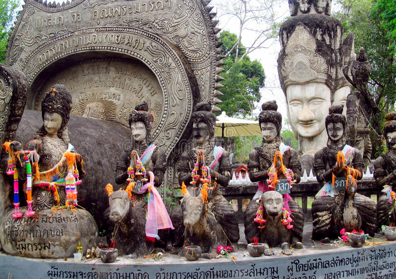 Sculptures in Nong Khai Buddha Park in Thailand stock photos