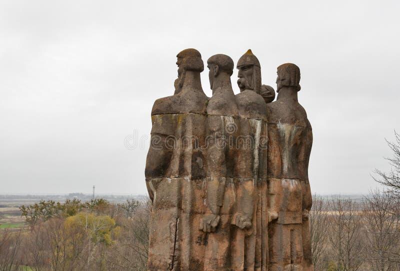 Sculptures in park of Olesko Castle stock images