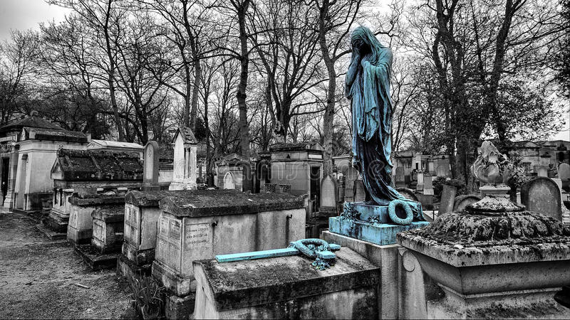 Sculptures from the Pere Lachaise Cemetery Paris stock photos