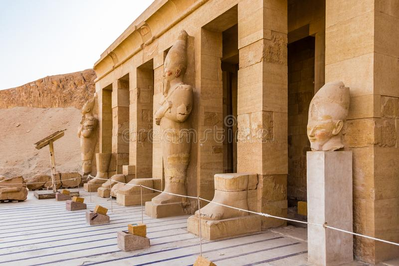 Sculptures of Pharaohs at the great temple of Queen Hatshepsut. In Egypt stock photos
