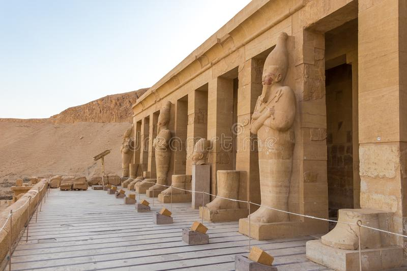 Sculptures of Pharaohs at the great temple of Queen Hatshepsut in Luxor. Egypt stock image