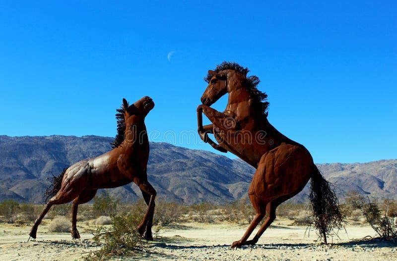 Sculptures préhistoriques en cheval, parc d'état de désert d'Anza Borrego photographie stock libre de droits